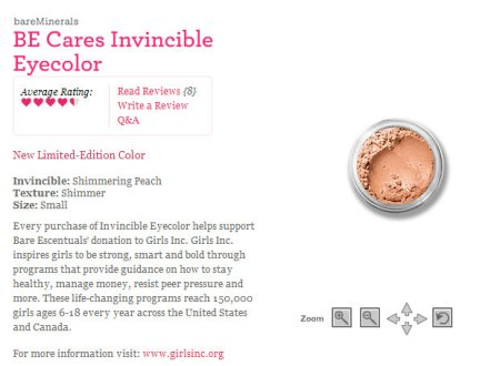 Bare Escentuals Invincible Eyecolor Limited Edition donation to Girls, Inc.