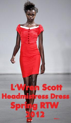 L'Wren Scott Red Headmistress Dress Spring RTW 2012.